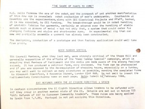 Extract from the Textile Distributors Association newsletter 'The Weekly Review' 1985