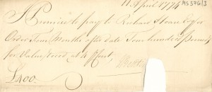 Promissory note of J. Bentinck for £400 payable to Richard Hoare Esq. four months after date at 4 percent; 11 Apr. 1774. Small piece torn off from the centre-right bottom edge. Ref MS 376/3