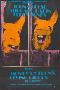 Poster for members of Monty Python's Flying Circus in concert at Nottingham University, 1971