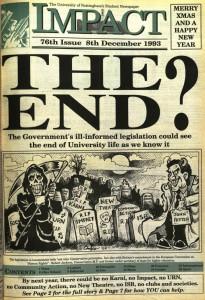Cover of Student newspaper Impact Dec 1993