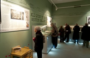 Photograph of the opening of the All Quiet in the Weston Gallery exhibition