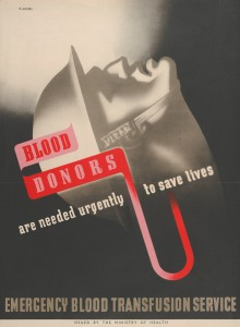 Poster to encourage blood donation showing a soldier's head and the slogan 'Blood donors are required urgently to save lives', dated c. 1943