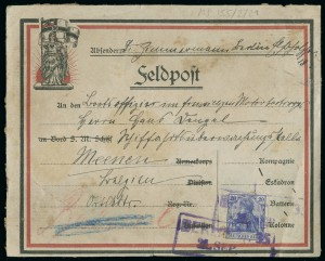 Postcard sent by a German soldier from the front line
