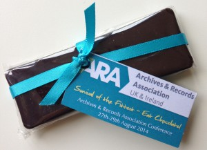 Survival of the fittest: eat chocolate! (chocolate bar issued to archivists at the annual conference).