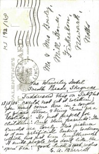 Reverse of the postcard, with the message from E A Marriott aboutthe 'lovely sands' at Skegness (Ref: MS 192/118)
