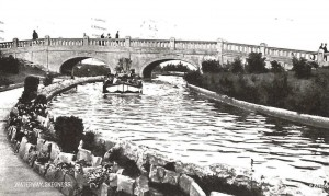 Black and white postcard of the artificial boating lake at Skegness, c.1938 (Ref: MS 192/118)