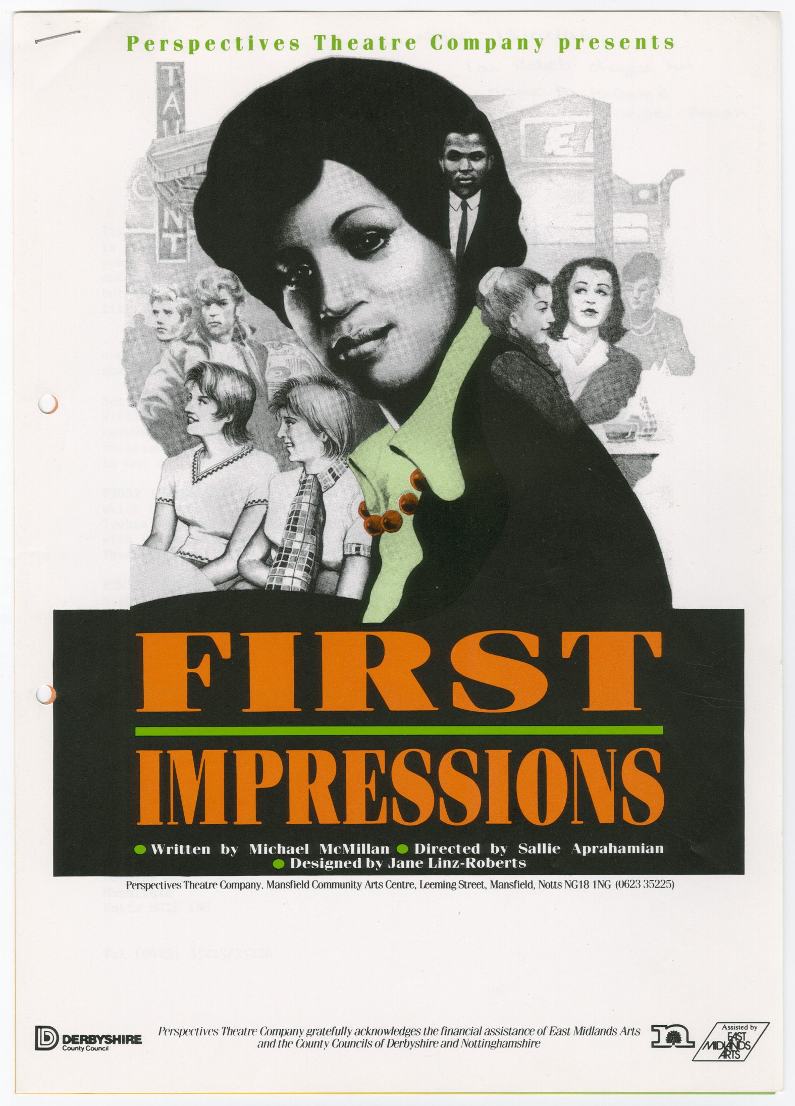 Poster for the play First Impressions, a drawing depicting the head and shoulders of a black woman in the foreground with white memebrs fo the community in the background.