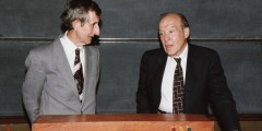 Julian Schwinger and Freeman Dyson at the Bicentenary celebrations, Nottingham, 1993 From GG 7/5/10/1