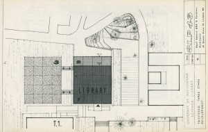 Architect's plans for the Science Library, by Basil Spence, 1961 From East Midlands Special Collection Oversize Pamphlet Not 5.J12 SCI
