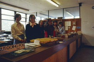 Photograph of counter staff in the Science Library, early 1970s (Acc 2006/1/39)