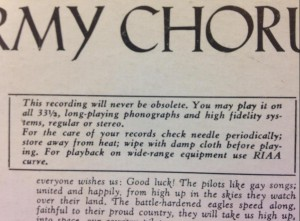 """""""This recording will never be obsolete"""". It's an LP of patriotic Russian songs performed by the Red Army."""