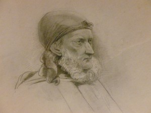 Pencil sketch of the head and shoulders of William Robertson, who wears a handkerchief tied around his head and has a white beard or whiskers.