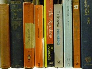 Copies of various editions of DH Lawrence's 'The Rainbow' on the shelves