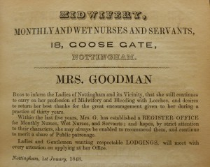 Advert for Mrs Goodman, 'Midwife and dealer in leeches', in 'Lascelles and Hagar, Commercial Directory of Nottingham', 1848 Nottingham University Library, (Ref: EMC Not 1.B15 E48)