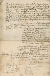 Certificate of Sarah Bonser, midwife of Colton Basset in Nottinghamshire. It states that she has practised midwifery for 'several years with good success' and lists the women she assisted and the numbers of births she attended. The certificate is signed by the Vicar and Churchwardens of Kinoulton, 1726  (Ref: AN/LB 236/1/51)