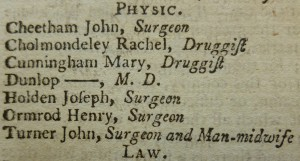 'Man-midwife' listed in 'The Universal British Directory of Trade, Commerce and Manufacture', 1793. (EMSC Not 1.B15.D93)