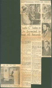Cutting from the 'Nottingham Evening News' concerning the 'Not Guilty' verdict in the Lady Chatterley's Lover trial, 3 Nov. 1960 (Ref: La Z 13/1/1960/11/3/153)