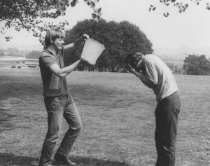 Students from Cripps Hall, University Park, having a water fight, 1971; from ACC 885