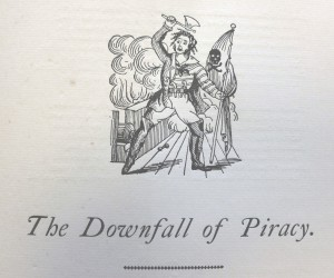 Small engraving from The Downfall Of Piracy, showing a pirate on the deck of a ship, wielding an axe and holding a skull and crossbones
