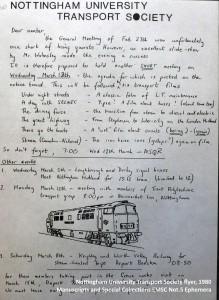 Nottingham University Transport Society flyer, 1980