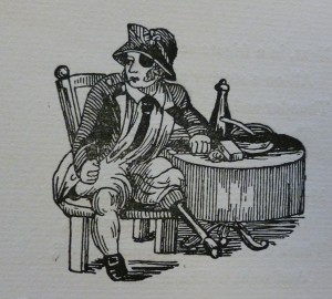 Engraving of a pirate sitting beside a table