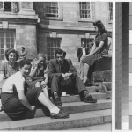 Students on the terrace of Trent Building, 1948