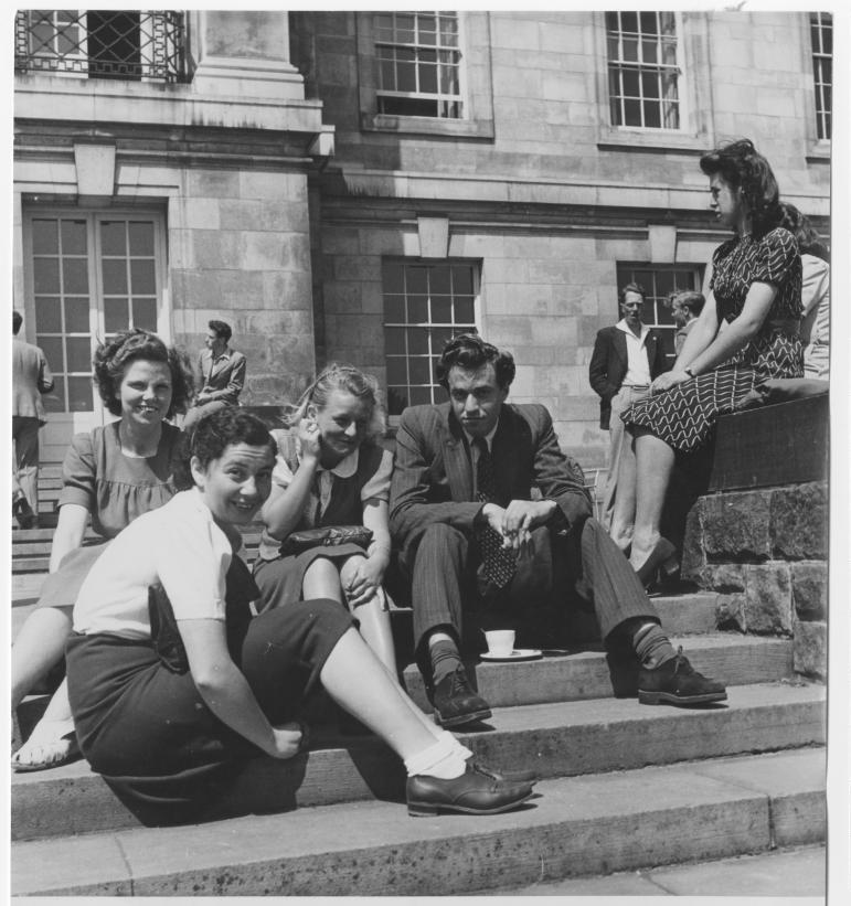 Students lounging around on the terrace of Trent Building, University Park, 1948; UMP/1/13/42