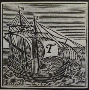 Engraving of a sailing boat with the letter T on the sail