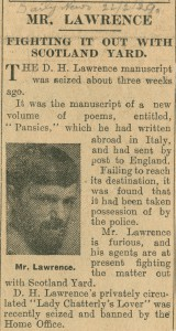 Newspaper report on the seizure of Pansies, 22 Feb. 1929 (ref: For N 1/Da 10/1)