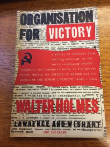 Cover of the 'Organisation for Victory' pamphlet, in red, black and white