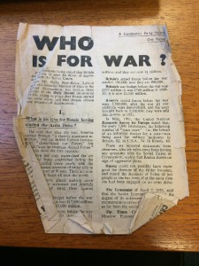 Badly crumpled plain text pamphlet 'Who is for War?'