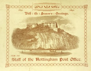 Card with an engraving of Nottingham Castle on the cliffs above the river