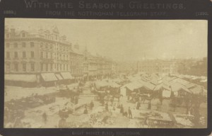 Faded photograph of market day at Market Square, Nottingham, clearly taken in summer