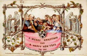 The first Christmas card, 1843, with a rich family feasting the in centre with a starving family on the left, and the same poor family receiving charity on the right
