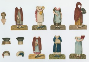 Little Fanny's outfits, including the fancy blue cloak, barefoot beggar girl, and reformed book-lover.