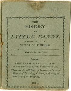 Faded grey front cover of the card envelope to 'The History of Little Fanny', 1810