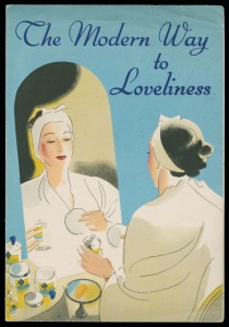 Advert 'the modern way to loveliness' showing a woman applying make-up in a mirror