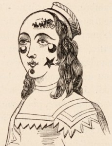 Engraving of a woman with beauty patches of crescent moons, horses and stars