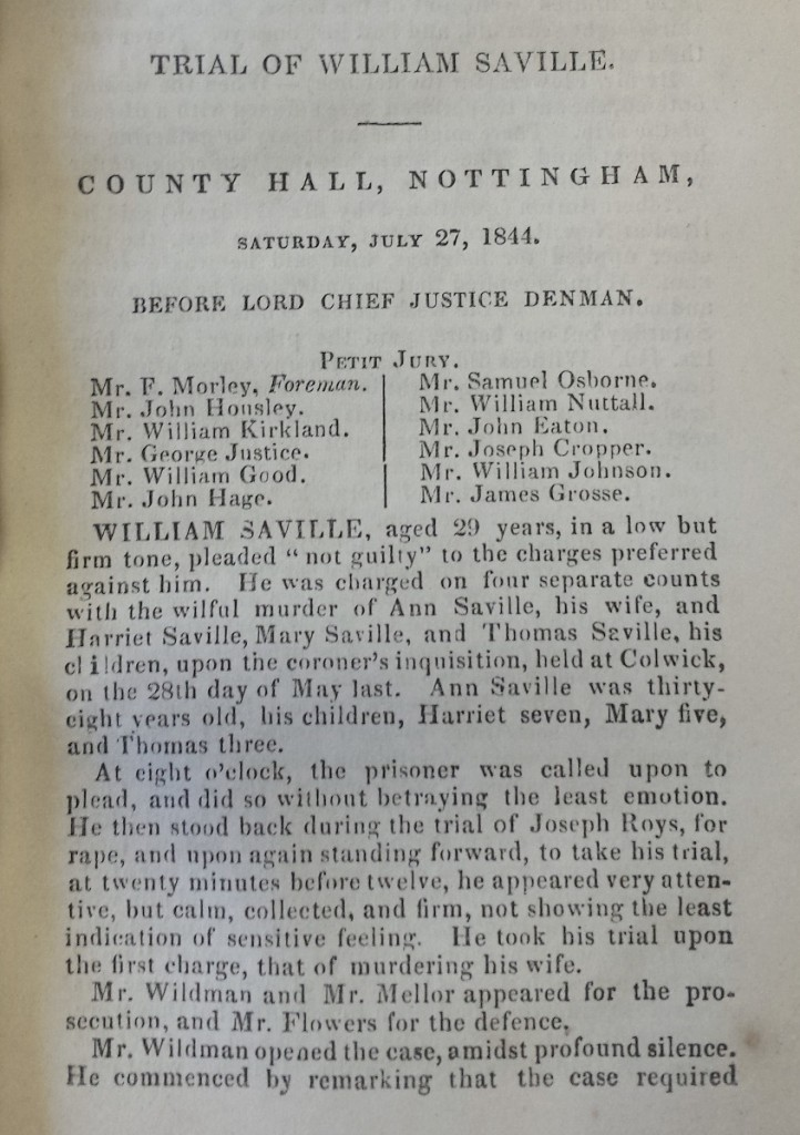 Page from a printed pamphlet on the trial, listing the names of the jury
