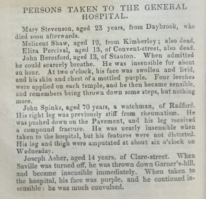 Names, ages and injuries of people taken to the General Hospital after the crush