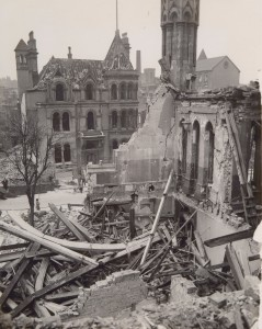 Collapsed timber and brick walls caused by a direct bomb hit to Shakespeare Street, Nottingham University College, 1941