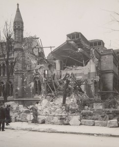 Bomb damage to the Shakespeare Street Buildings, Nottingham University College, May 1941 (Ref: UMP 2/1/42/5)