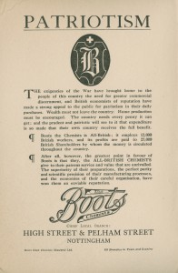 Printed Boots the Chemists advert headed 'Patriotism' from 'Notts Patriotic Fair' handbook, mostly text 1917