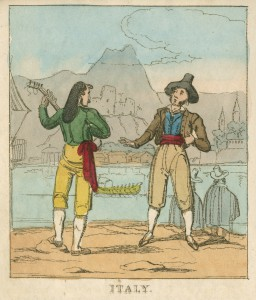 Illustration showing Italians in native dress, playing an instrument and singing, with the faint outline of a coastal village in the background
