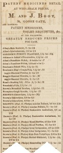 Advert for M and J Boot from a newspaper listing all their patent medications
