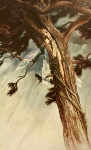 Illustration of Ariel, wedged in a split tree trunk
