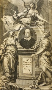 Engraving of Shakespeare, surrounded by the three Muses
