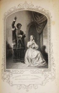 Othello accusing Desdemona, mostly engraved but showing images of the actors' real faces