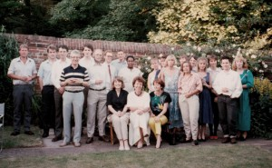 Group photograph of staff from Russian & Slavonic Studies posing in the University grounds, c.1980s