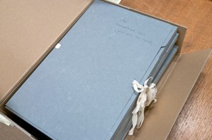 Archive box containing folders of archival documents